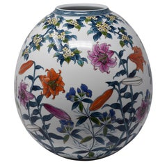 Large Contemporary Japanese Imari Hand-Painted Porcelain Vase by Master Artist