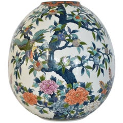 Contemporary Japanese Hand-Painted Large Porcelain Vase by Master Artist