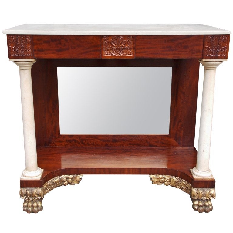 American Mahogany and Gilt Marble Pier Table , Philadelphia Circa 1815