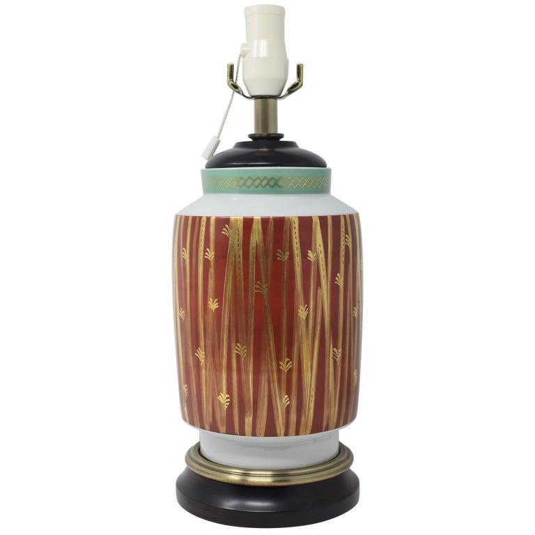 Gilded Hand-Painted Kutani Porcelain Lamp by Living National Treasure-Circa 1975