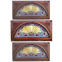 Three Vibrant American Victorian Period Leaded Glass Windows
