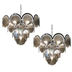 Vistosi Five-Tier Chrome and Smoke Glass Disc Chandelier, Italy, 1970s