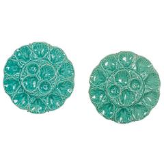 """Two Large Antique French """"Gien"""" Turquoise Colour Oyster Platters circa 1900"""