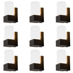Set of 9 Cylindrical Wall Sconces in Opaline Glass