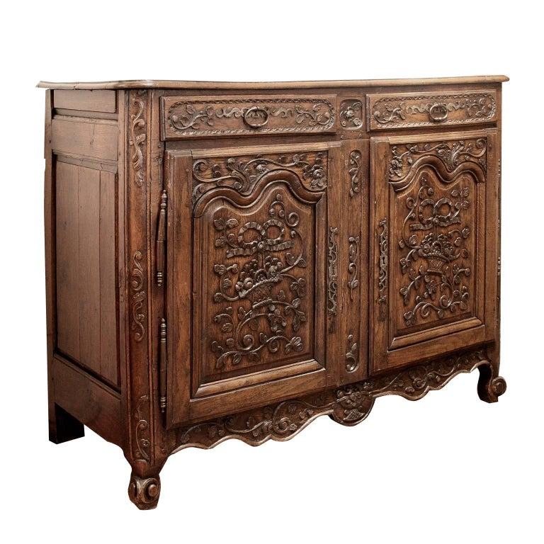 Finely Carved French Oak Buffet, 18th Century