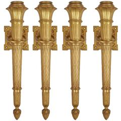 Set of Four Neoclassical Style Gilt Bronze Torch Form Wall Lights