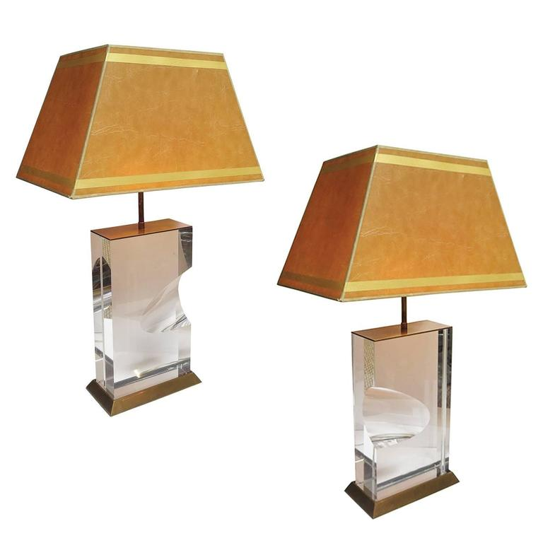 Lucite and Brass Lamps Signed Jeffrey Bigelow, 1991 For Sale