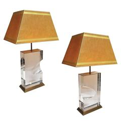 Lucite and Brass Lamps Signed Jeffrey Bigelow, 1991