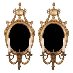 Pair Baltic Giltwood and Bronze Girandole or Wall Lights