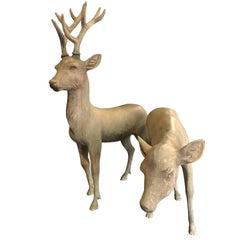 Japan Pair of Hand Cast Bronze Sika Deer Beautiful Details