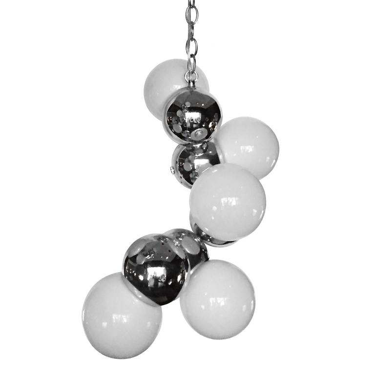 1970s Asymmetrical Hanging Chrome and Glass Orb Pendent Light For Sale
