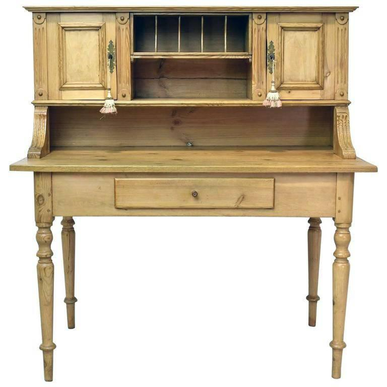 19th Century Antique European Pine Writing Table Or Desk For