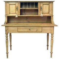 19th Century Antique European Pine Writing Table or Desk