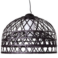 Moooi Emperor Suspension Lamp by Neri & Hu in Black and Red Bamboo Rattan