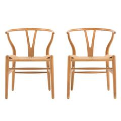 Set of Four Hans J. Wegner Wishbone Chairs