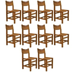 Set of Ten Solid Elm and Cognac Leather Chairs by Maison Regain - Circa 1970