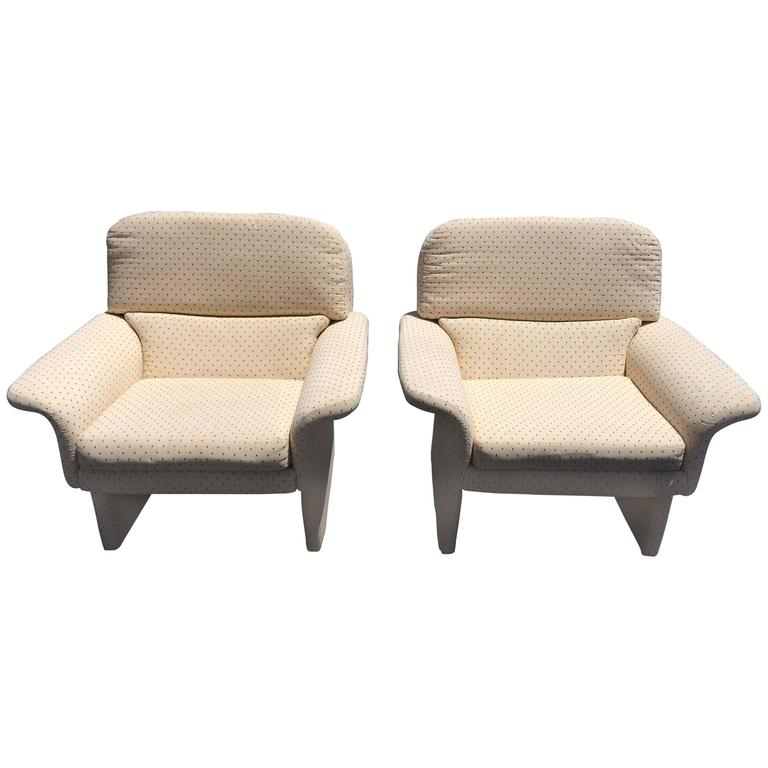 Pair of Saporiti Style Upholstered Lounge Chairs