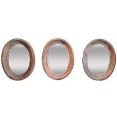 Set of Three 19th Century Oeil De Boeuf Mirrors