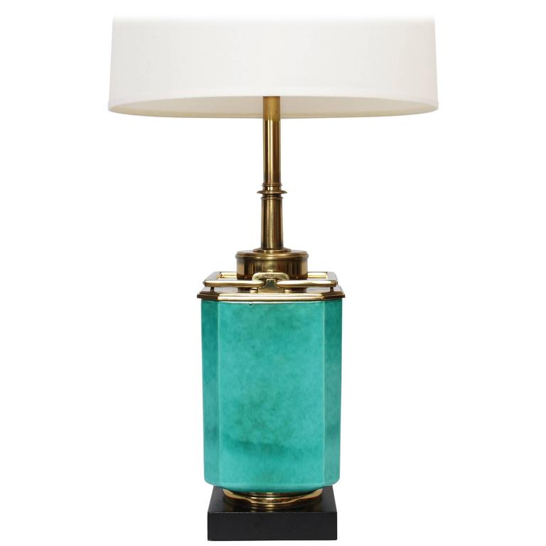 Edwin Cole For Stiffel Aqua Ceramic And Brass Detailed Table Lamp