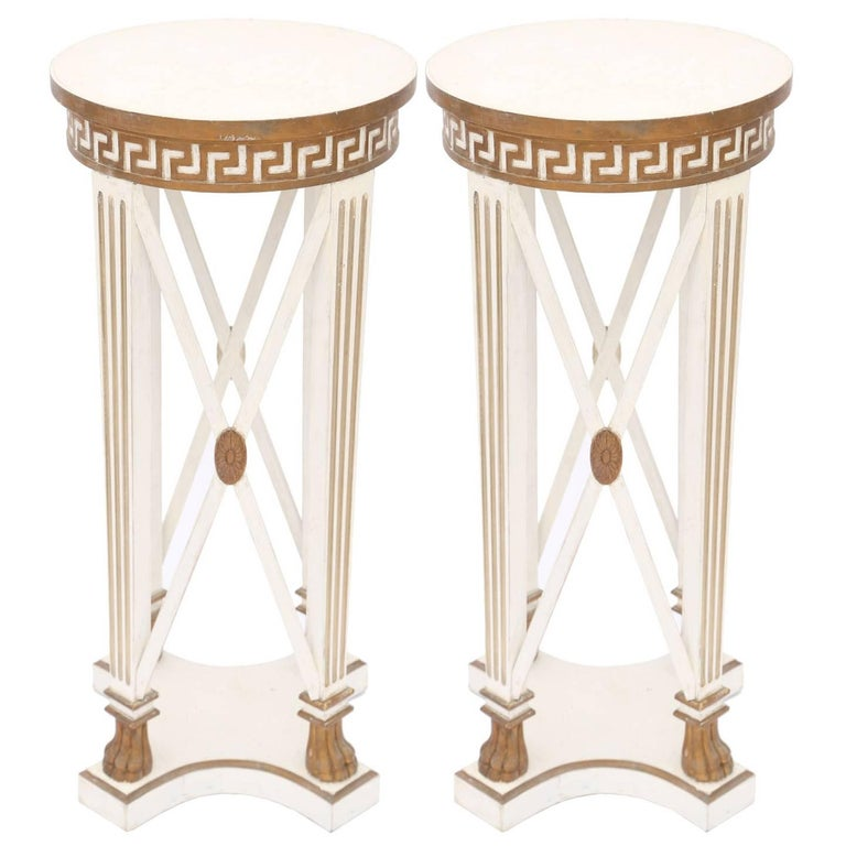 Pair of Painted and Parcel-Gilt Neoclassical Pedestals