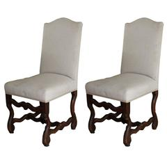 Set of Two Upholstered Louis XIII Chairs, c. 1860