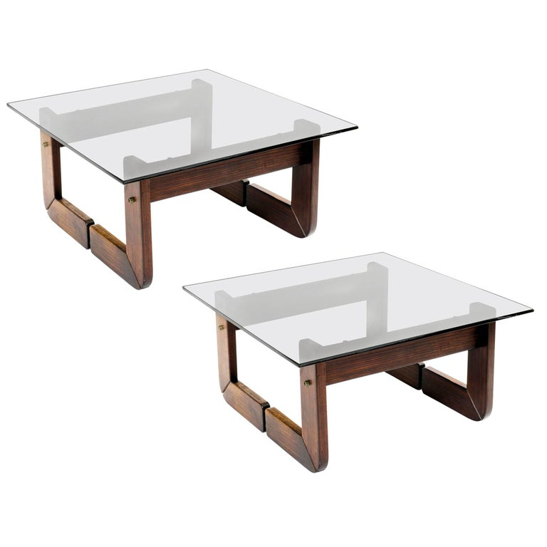 Brazilian Rosewood and Smoke Glass End Tables For Sale