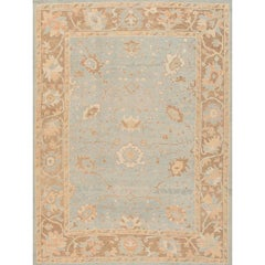 21st Century Contemporary Blue and Beige Floral Turkish Oushak Rug