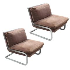 Luxe Pair of Modern Chrome Armless Lounge Chairs