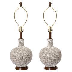 Italian, 1950s Volcanic Glaze Ceramic Lamps