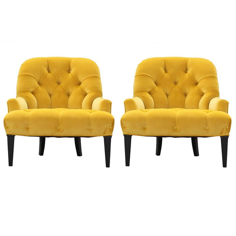 Pair Of Modern French Slipper Lounge Chairs In Tufted Yellow Velvet For Sale