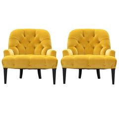 Pair of Modern French Slipper Lounge Chairs in Tufted Yellow Velvet