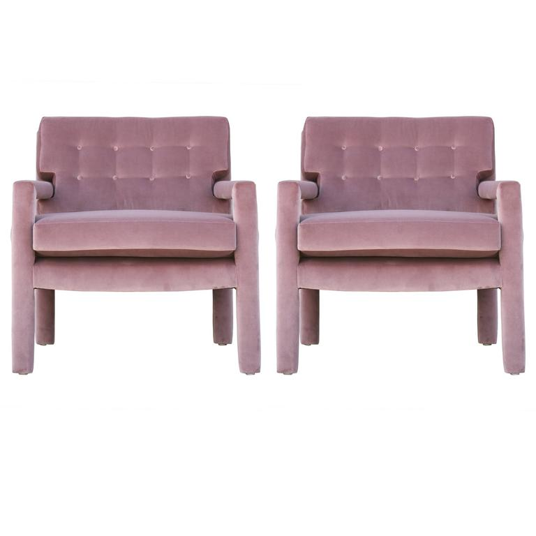 Pair of Modern Milo Baughman Parsons Style Lounge Chairs in Purple Velvet