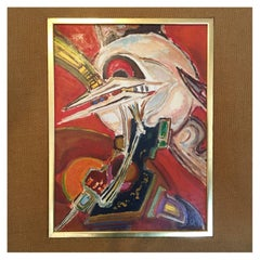1960s French abstract Oil Painting by Pierre Havret
