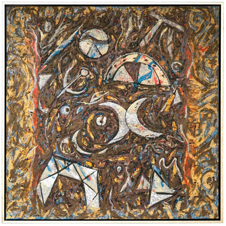 Striking extra large painting by well-known Parisian Artist Richard Texier called Ca Gigotte, circa 1985. The painting is full of vibrant reds, plums, browns, blues, off white and black. Colors are rich and dense yet the overall palette is soft. No