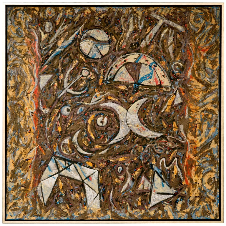 Richard Texier Abstract Oil Painting For Sale