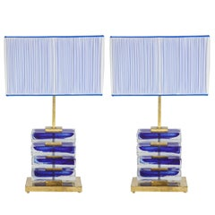 Impressive Pair of Italian Blue and Clear Murano Glass Block Lamps