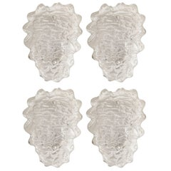 Kalmar Textured Ice Glass Sconces, Two Pairs