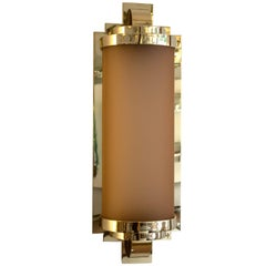 Art Deco Sconce with Vintage Pink 'Creole' Glass and Polish Brass