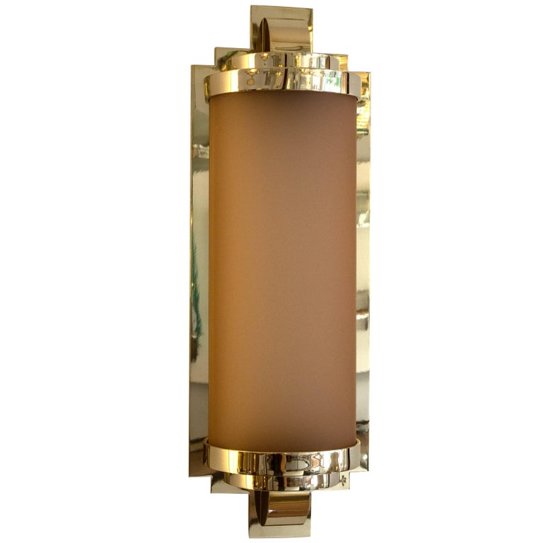 Art Deco Sconce With Vintage Pink Creole Glass And Polish Brass For