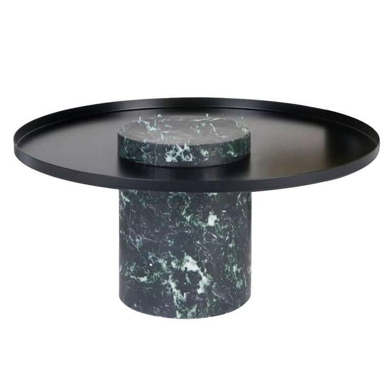 Low Salute Coffee Table Green Marble Black Tray For Sale At 1stdibs