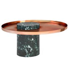 Low Salute Coffee Table Green Marble, Copper Tray