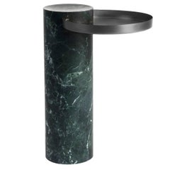 High Salute Coffee Table, Green Marble, Black Tray