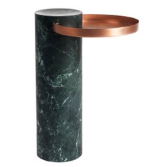 High Salute Coffee Table Green Marble, Copper Tray