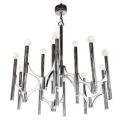 A Sciolari Large Fifteen-Light Chrome and White Panel Italian Chandeliers