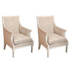 Pair of Directoire Painted Bergeres Upholstered in Burlap