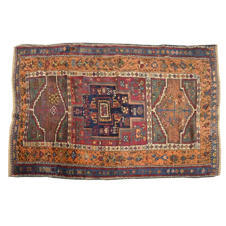 Purple Antique Yuruk Turquestan Rug, 19th Century with Tribal Design