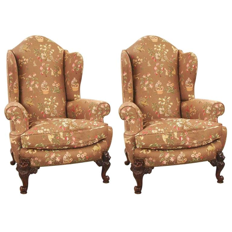 Pair Of Victorian Style Beautifully Upholstered Wingback