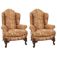 Pair of Victorian Style Beautifully Upholstered Wingback Armchairs
