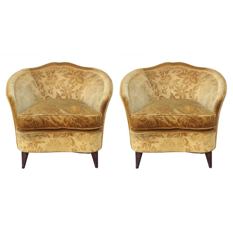 Pair of 1950s Modern Italian Lounge Chairs in Vintage Gold Floral Velvet  For Sale - Pair Of 1950s Modern Italian Lounge Chairs In Vintage Gold Floral