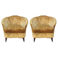 Pair of 1950s Modern Italian Lounge Chairs in Vintage Gold Floral Velvet